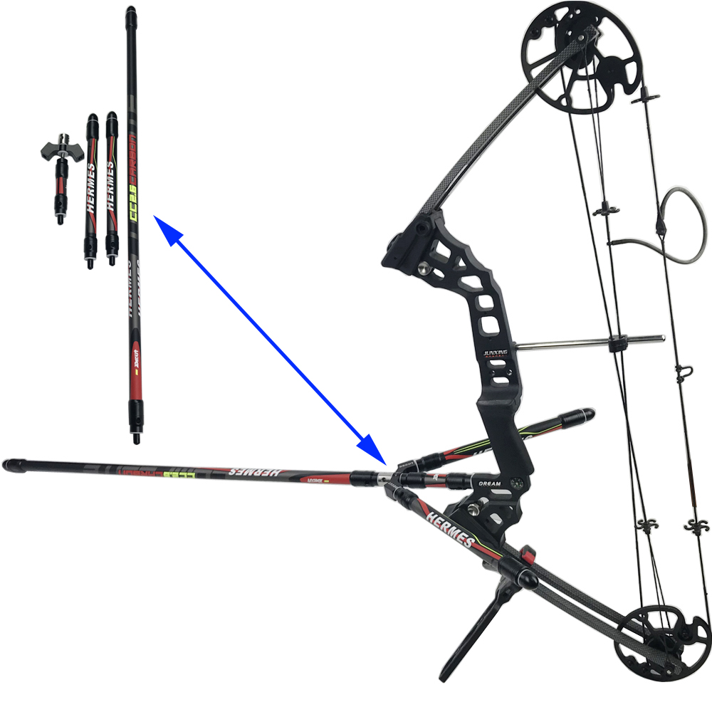 Decut Archery Stabilizer Balance Bar Rod Weight Hunting Damper Sliencer Shooting Recurve Compound Bow Balance V Bar Long Rod dmar recurve bow archery stabilizer balance rod v bar damping rod shock absorber bow hunting accessories