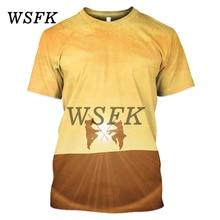 Wsfk 2019 new fashion personality 3D mens sports T-shirt casual loose street print shirt