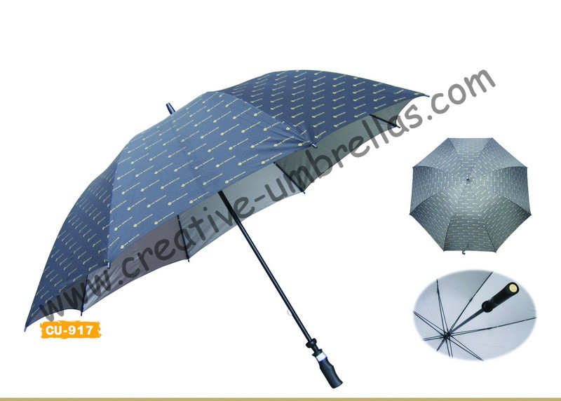 Free shipping by sea,pongee silver coating fabric 14mm fiberglass shaft and ribs,hand open golf umbrella,windproof,pistol handle