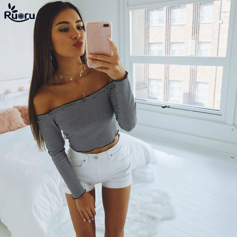 Ruoru New Summer Sweet Striped Women T Shirt Long Sleeve Slash Neck Sexy Female Tees Ladies Crop Tops Base