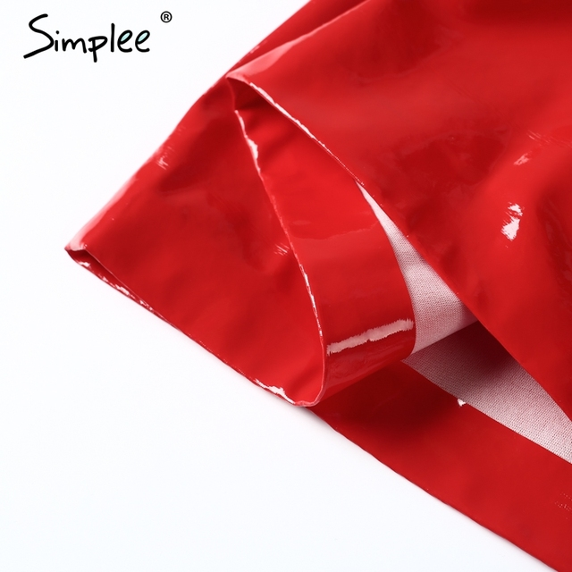 Simplee Sexy faux leather zipper pencil skirt Elegant summer red streetwear short skirt Women party club bodycon skirt 2017