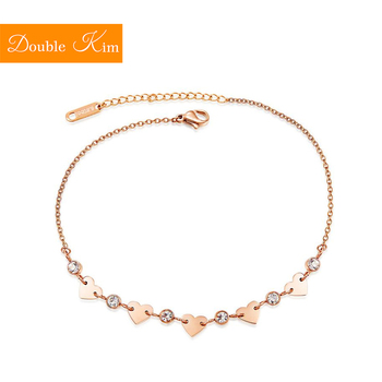 Zircon Love Heart Anklet Rose Gold Color Titanium Stainless Steel Material Anklets Fashion Trendy Women Jewelry Gift