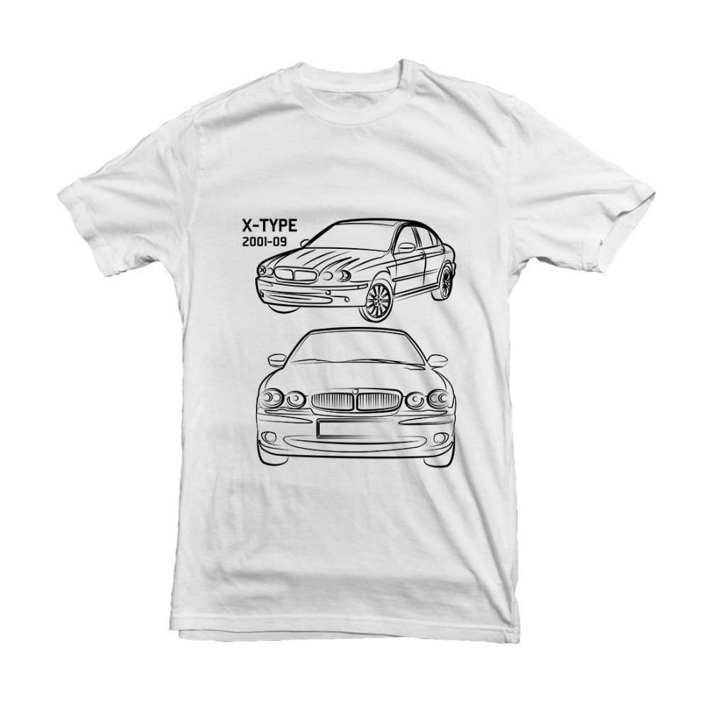 British Classic Car X Type Car Outline T Shirt Black White 2018