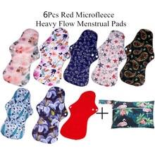 [Simfamily] 5+ 1 моющиеся тяжелые наборы подушечек менструальные тканевые гигиенические прокладки, в том числе 5 шт подушечек+ 1 шт Мини влажный мешок, многоразовые