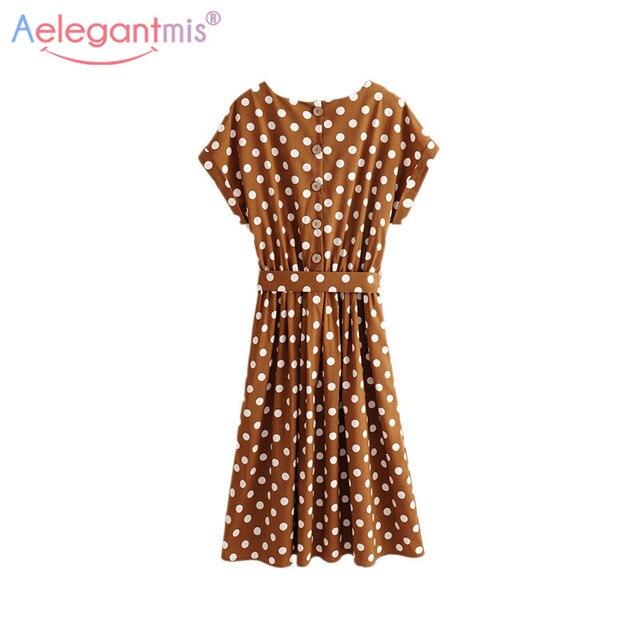 0b4a40376b414 Aelegantmis Vintage Polka Dot Tunic Dress Whit Belt Women Summer Casual  Loose O-Neck Short Sleeve Dress Female Vestidos