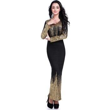 2b3857a61ebe Женское платье с длинным рукавом Макси Золотое бальное платье красивые  дешевые ...