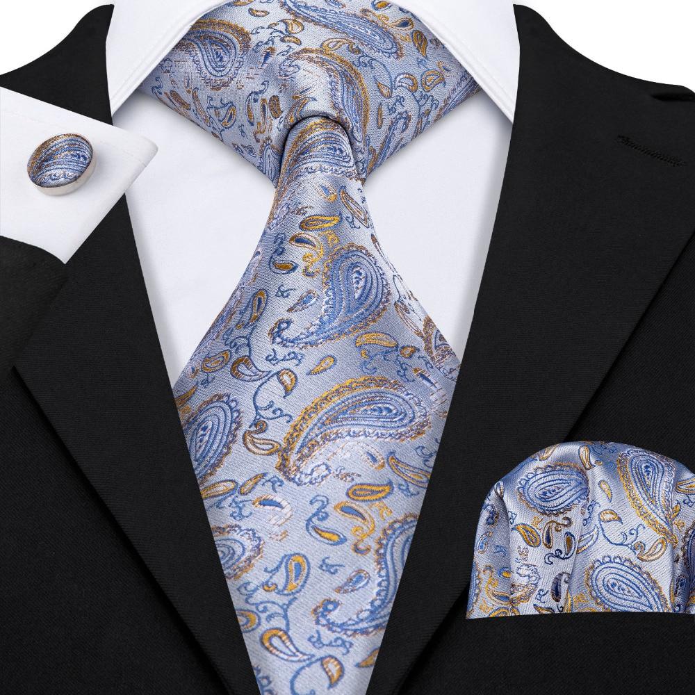 Sliver Blue Paisley Suit Tie 100% Silk Fashion Designers Neck Tie For Men Wedding Business Barry.Wang 8.5cm Dropshipping LS-5025