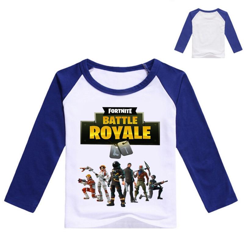 Z&Y 2-16Years 2018 Casual Children Clothing Battle Royal Fortnite Kids Long Sleeve Tshirt Teenager Boy T-shirt Fashion Girls Top