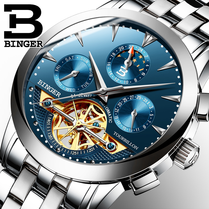Luxury Men's Watches BINGER Brand Mechanical Wristwatches Automatic Tourbillon Wrist watch Full Steel relogio masculino mechanical automatic watches men luxury brand mce tourbillon wrist watch stainless steel business black wristwatches