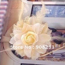 Gold Dust Roses Cloth And Feather Hair Rope And Wrist,Corsage Flower Brooch,Free Shippping!50pcs/lot,Hot Sale!Promation!