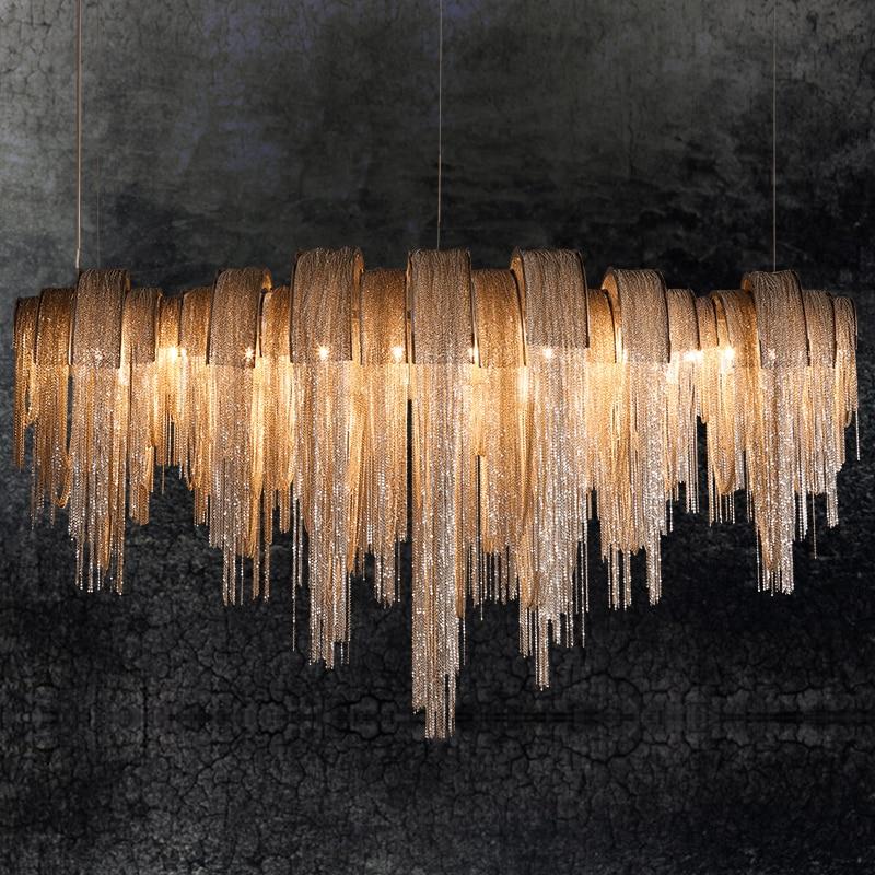 Lámpara colgante con flecos Cadena de aluminio Luz colgante LED - Iluminación interior