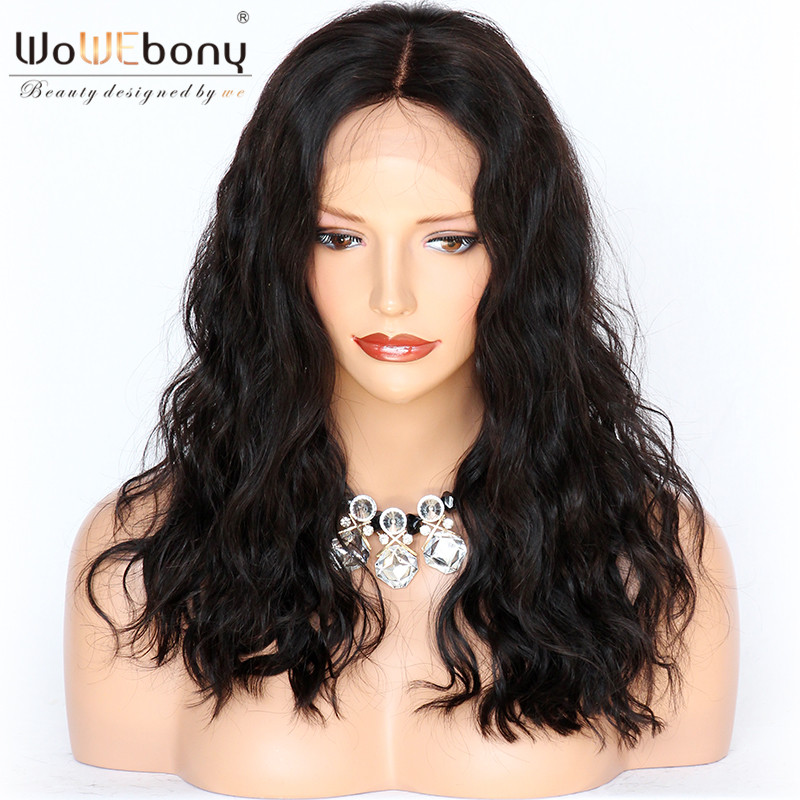 WoWEbony 100% Human Hair Lace Wigs Loose Wave Bob Style Indian Remy Lace Front Wigs With Baby Hair Middle Part