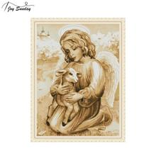 Joy Sunday Angel and Lamb Cross Stitch Patterns Counted Embroidery Kit DMC DIY Aida Fabric Printed on Canvas Hand Needlework Set