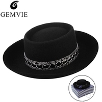 100% Wool Fedoras Felt Hat for Men Women Retro Wide Brim Flat top Wool Felt Hat Unisex Jazz Cap With Rhinestone Top Hat With Box