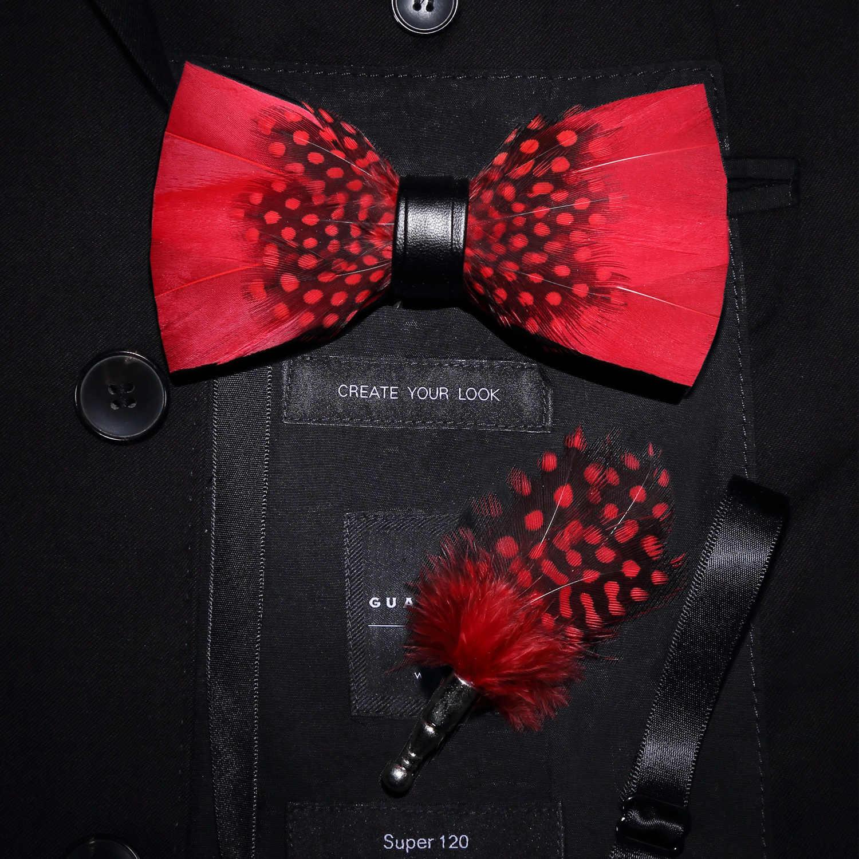 Rbocott Pria Bulu Dasi Kupu-kupu Bros Set dengan Kotak untuk Pria Pernikahan Hadiah Fashion Baru Buatan Tangan Kulit Busur Dasi Pin Hadiah set Kotak