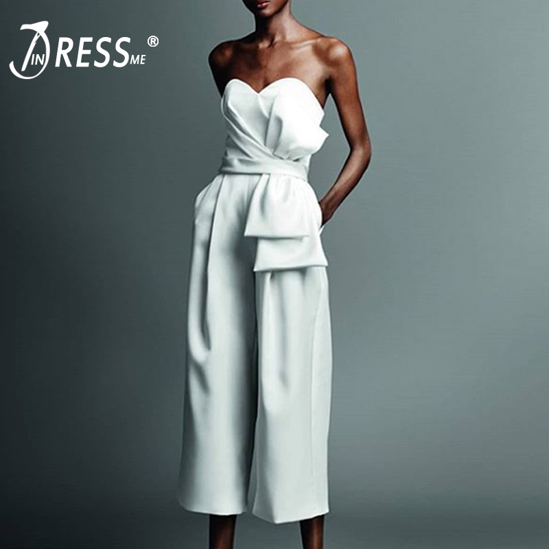 INDRESSME 2019 New Women Fashion Office Lady Sexy Strapless Backless Ruffles Half Length Pant Party Club