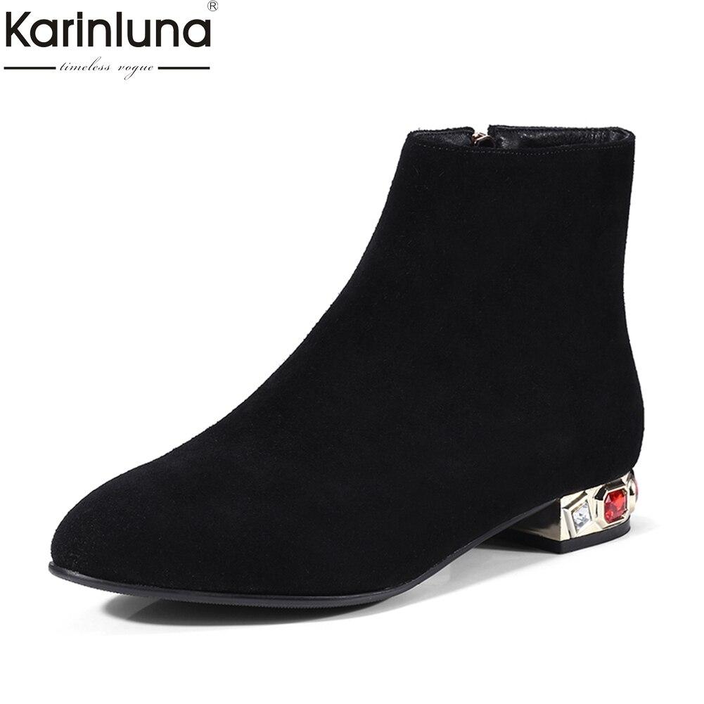 KarinLuna/2018 г. брендовые замшевые женские ботильоны из коровьей кожи модные квадратный каблук для отдыха кристаллы женская обувь пинетки