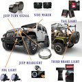 "Wrangler JK Accessories 7"" Led headlight + Bracket + Tail Lights + Side Maker +Turn Signal+ Third Brake Light + 4 Inch Fog Lamp"