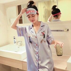 Image 3 - Versión coreana nueva mujer de seda sintética Popeye de manga corta de verano señoras hebilla vestido noche informal ropa de dormir