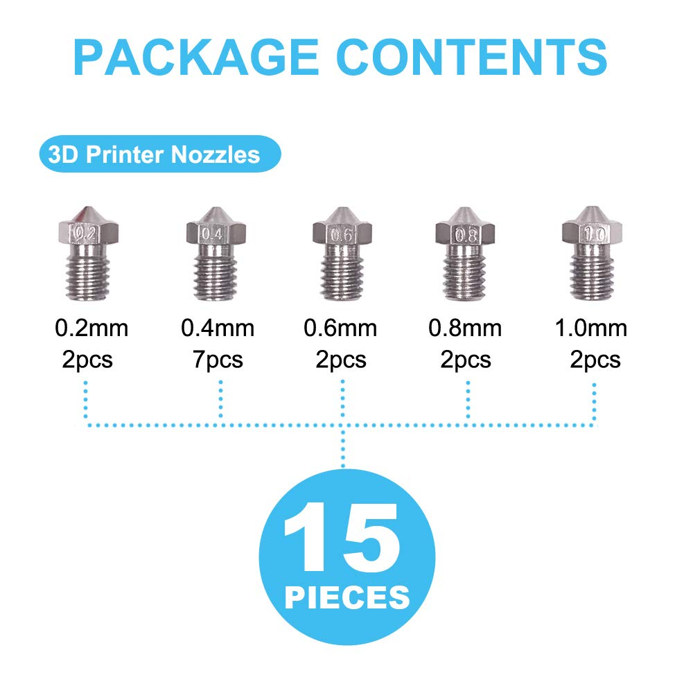 Image 3 - 15 Pieces Stainless Steel 3D Printer Nozzles 0.2 Mm, 0.4 Mm, 0.6 Mm, 0.8 Mm, 1.0 Mm Extruder Nozzle Print Head For E3D Makerbo-in 3D Printer Parts & Accessories from Computer & Office