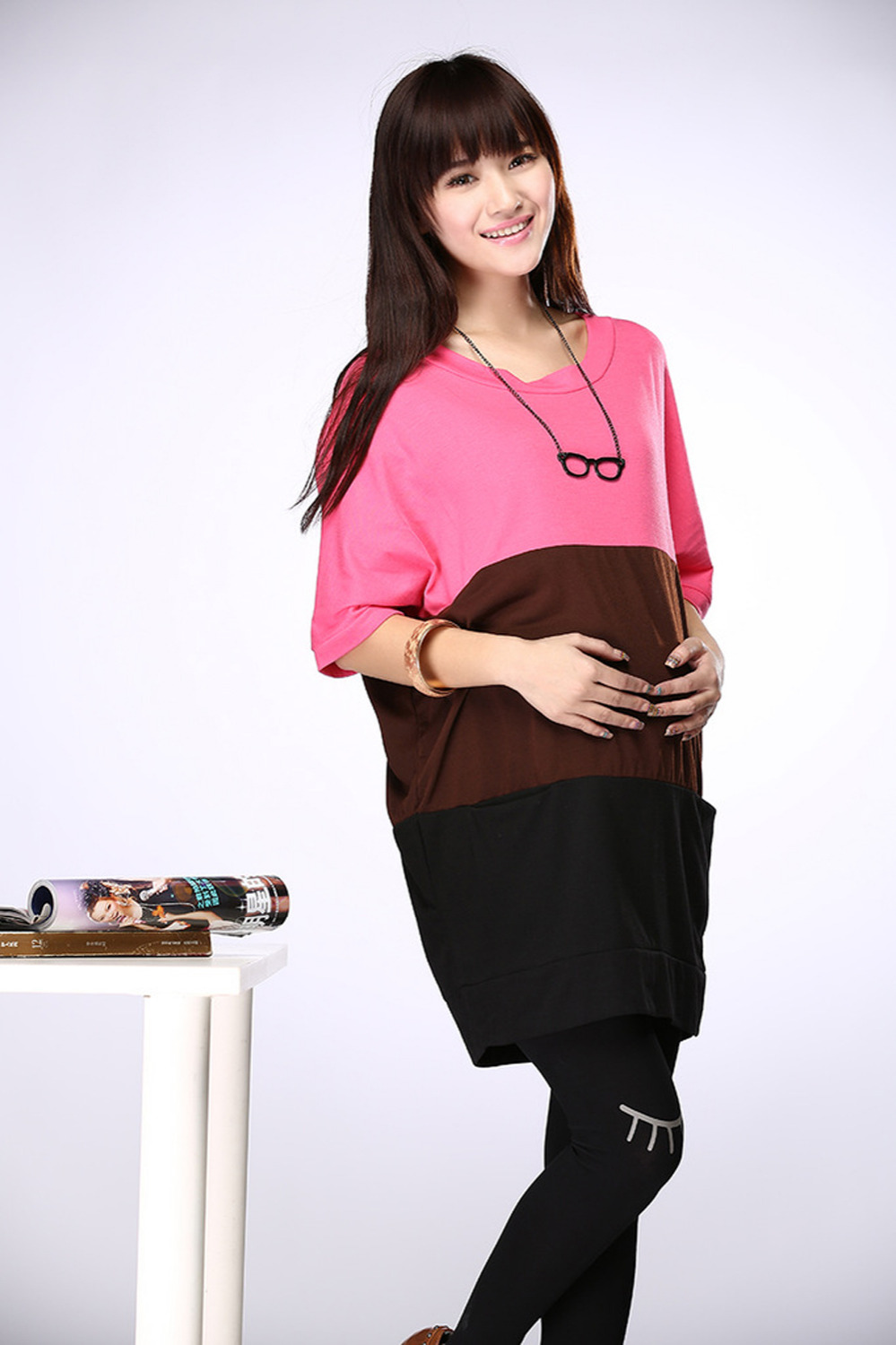 Maternity dress casual cotton maternity clothes plus size ...
