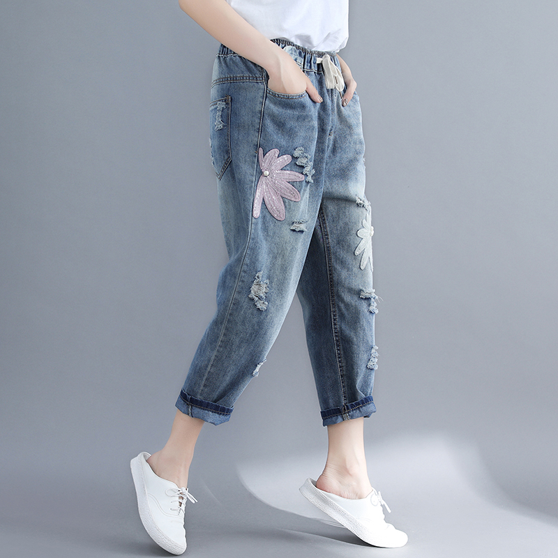 Pantalon Patchwork Outwear Summer Size Chart Femelle Broderie Jeans Femmes See New Plus Dame Perles Vintage Bleu 2019 Cpw6xzO6