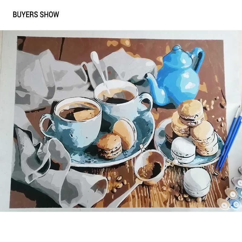CHENISTORY Coffee Cake ręcznie malowany obrazek według numerów Modern Home Wall Art Picture zestawy akrylowy malowany ręcznie obraz olejny na prezent 40x50
