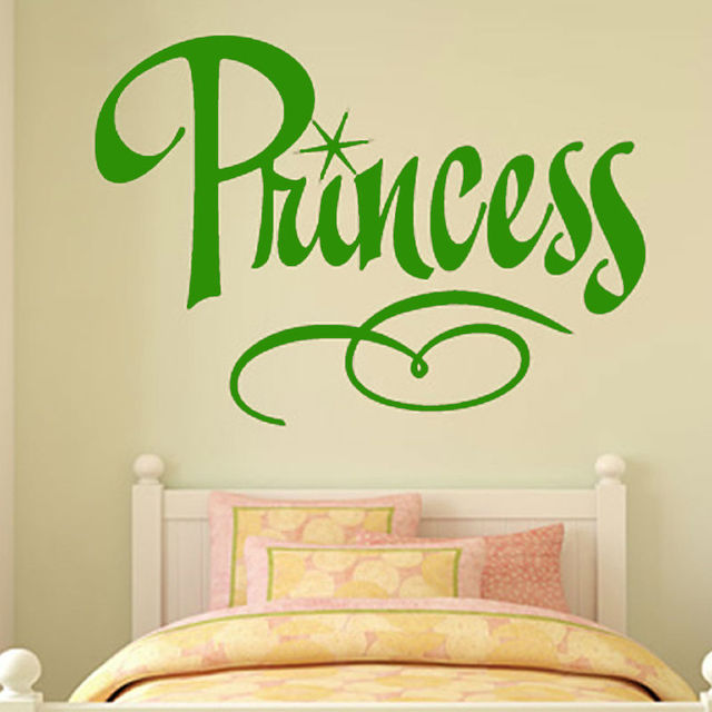 Art Words Princess Bedroom Wall Decal Removable Cheap Home Decor ...