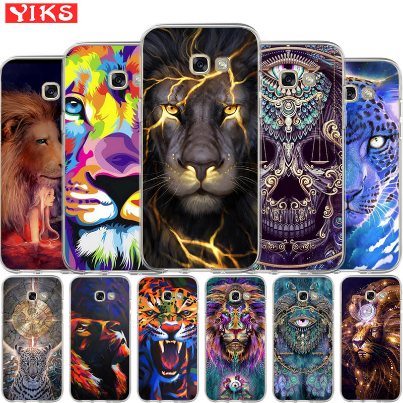 lion tiger peacock Case For Coque Samsung Galaxy A3 A5 A7 A8 2015 2016 2017 2018 Cover Case Soft Phone Case shell Skin Etui image