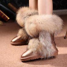 2016 New Raccoon Fur Women's Winter Snow Boots Genuine Leather Boots Ugs Australia Boots Women