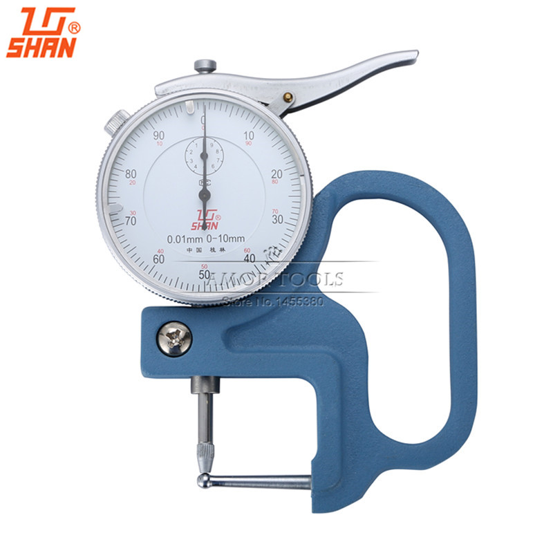 SHAN Dial Tube Gauge 0 10*30mm Probe 4mm For Measuring Thickness of Pipe Measure Tools