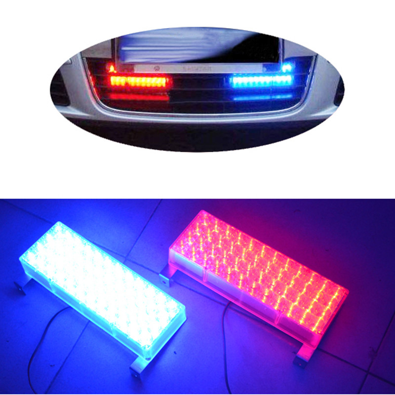 2*48 96 LED Strobe Emergency Flashing Warning Light Police Work Lights 3 Flashing Modes Flash Yellow White Blue Amber Red Lamp