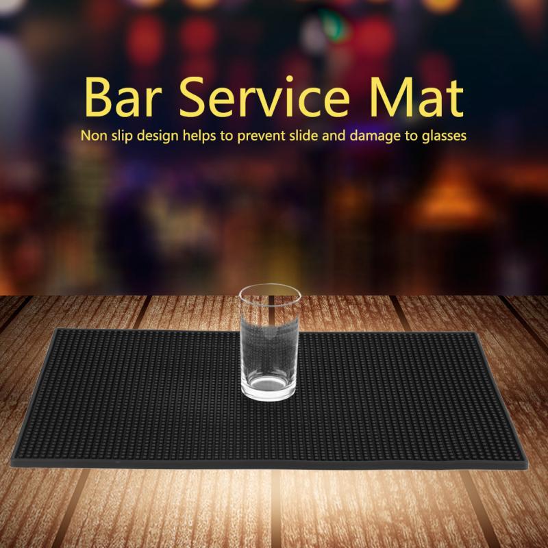 Soft Black Color 1pc PVC Bar Mat Waterproof Coaster Kitchen Water Proof Mat Kitchen Glass Coaster
