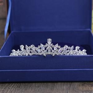 Image 1 - SLBRIDAL מדהים מעוקב זירקון חתונה נזר CZ כלה סרט מלכת נסיכת תחרות מסיבת כתר השושבינות נשים תכשיטים
