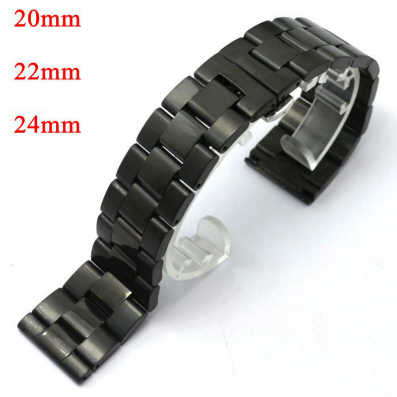 20/22/24mm Black Stainless Steel Band Strap Black Bracelet Solid Links Deployment Buckle With Push Button Women Men Wrist Watch 1pc silver stainless steel men wrist watch bracelet strap 16 22mm watchbands with push button buckle clasp men watch accessorie