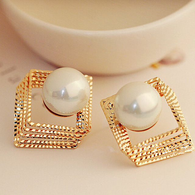 Lose Money Big Sale Glossy Multi Layer Imitation Pearl Earrings Gold