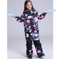 Gsou Snow children One piece ski suit for girls Children windproof Waterproof snowboard Outdoor Sports clothing super warm suit