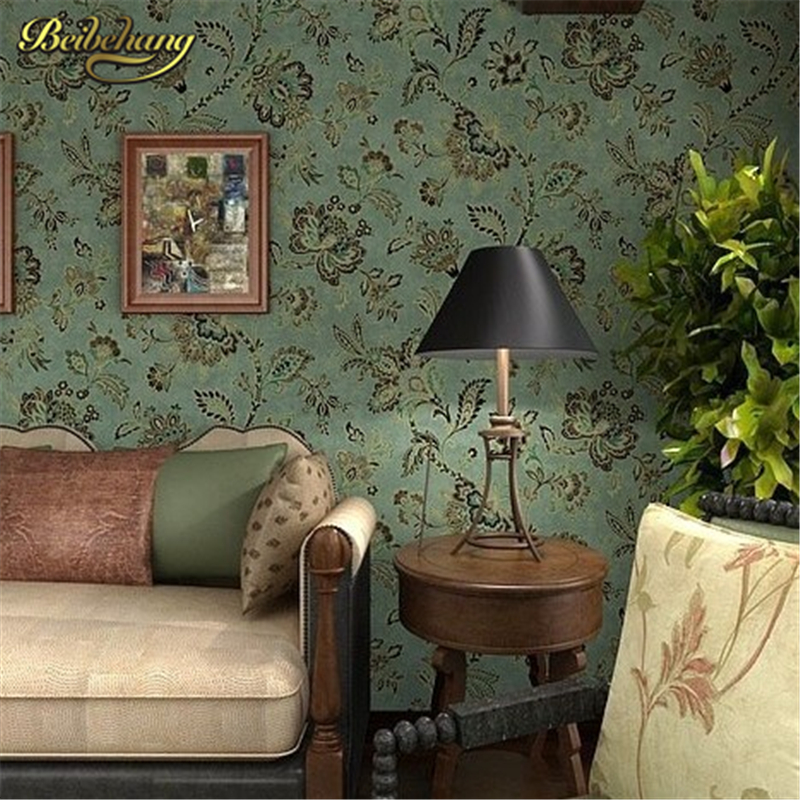 купить beibehang papel de parede. PVC country style vintage dark green background wall flower wallpaper for living room wall papers по цене 2111.19 рублей
