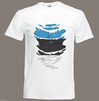 Футболка с рисунком флага в европейском стиле; рваная футболка с принтом «мускулы»; европейские размеры S-XXXL; хлопковая футболка для мужчин; ...