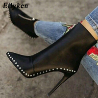 Eilyken 2019 New Desig Women Boots Winter Metal Decoration Rivet Pointed Toe Ankle Boots Fashion Ladies Shoes Rubber Boots Black