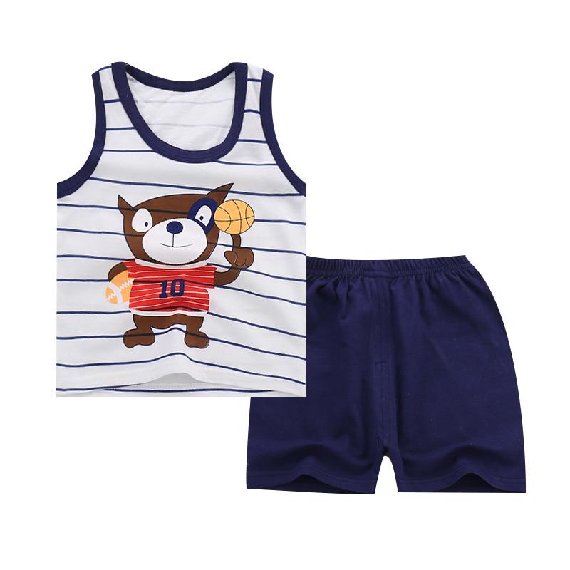 Summer Baby Boys Girls Cartoon Vest Top Shorts Pants Set Clothes Kids Cute Cartoon 2PCS Children Pajamas Girls Clothing Sets