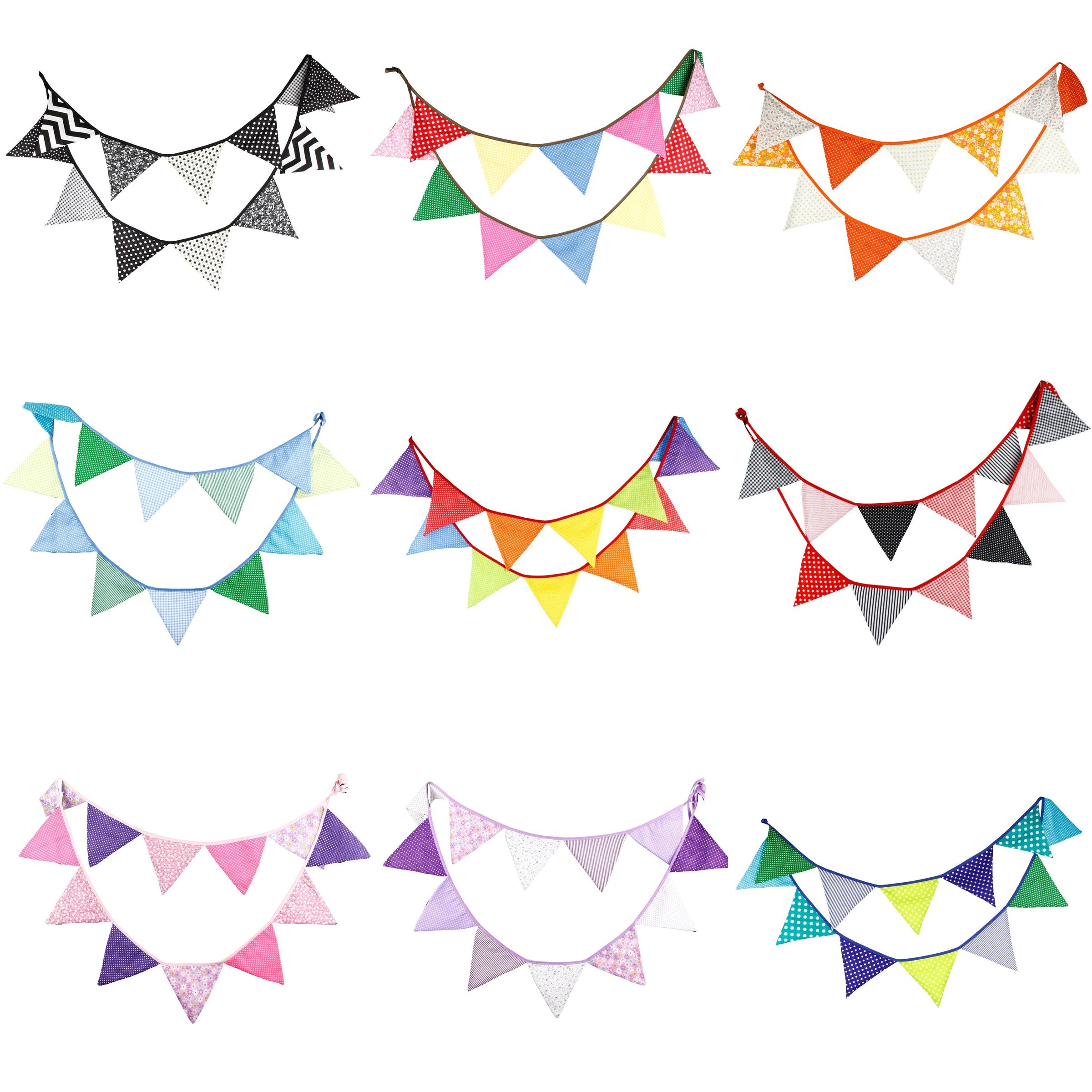 3.2m 12 bandeiras de pano de algodão artesanal bandeira flâmula guirlanda crianças chuveiro do bebê aniversário bunting festa de casamento decoração
