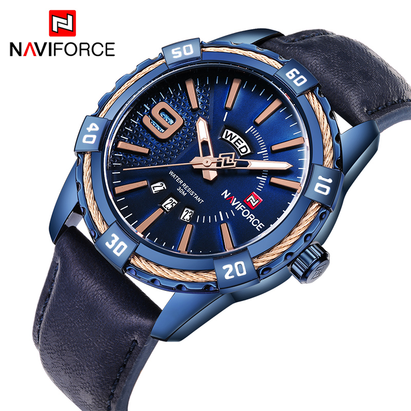 NAVIFORCE New Brand Watches Men Quartz Sport Watch Analog Luxury Sapphire Blue Stainless Steel Men's Wristwatches Clock Relogio