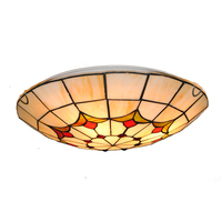 European Style Stained Glass Tiffany Ceiling Lighting Fixture Bedroom Living Room Dining Room Flush Mount Vintage Light CL294