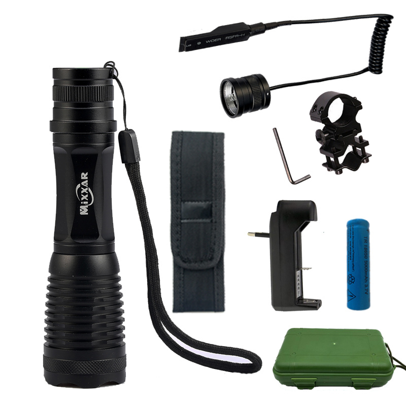 CREE XM-L T6 L2 9500/9000LM LED Tactical Flashlight Torch Zoomable Lantern for Hunting with 18650 Battery Remote Switch Charger