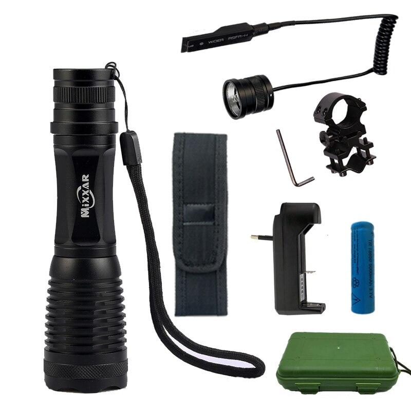 CREE XM-L T6 L2 9500/9000LM LED Tactique lampe de Poche Torche Zoomables Lanterne pour La Chasse avec 18650 Batterie Interrupteur À Distance chargeur