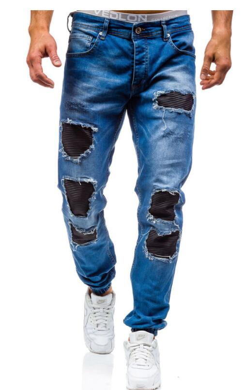 2018 New MenS Jeans Ripped Holes Pants Korean Style Elasticity Casual Trousers Cool Stretch Man Denim Pants