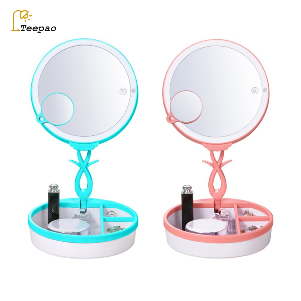 New Makeup Mirror Desk Lamp Portable Cosmetic Mirror LED USB Charging Luxury Bedroom Night Light Jewelry Storage box Table Lamps usb charging portable adjustable eye protection led night light