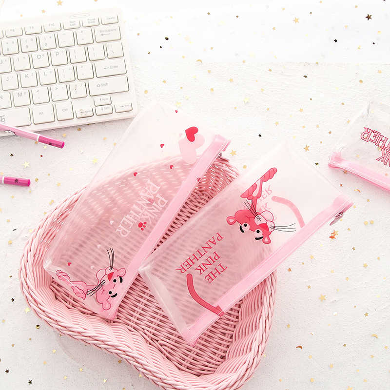 Kawaii Panther Flamingo piórniki śliczne przezroczyste różowe piórniki pudełko na długopis dla dziewczynek papiernicze artykuły biurowe szkolne