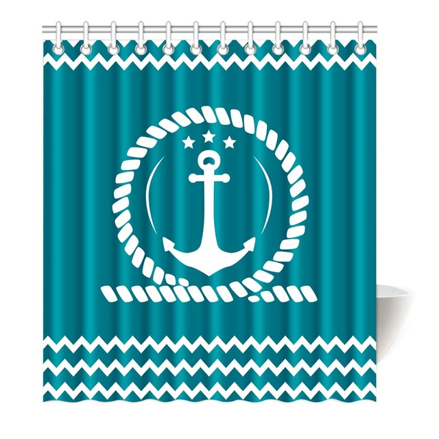 Blue Anchor And Chevron Ocean Winds Printing Shower Curtain